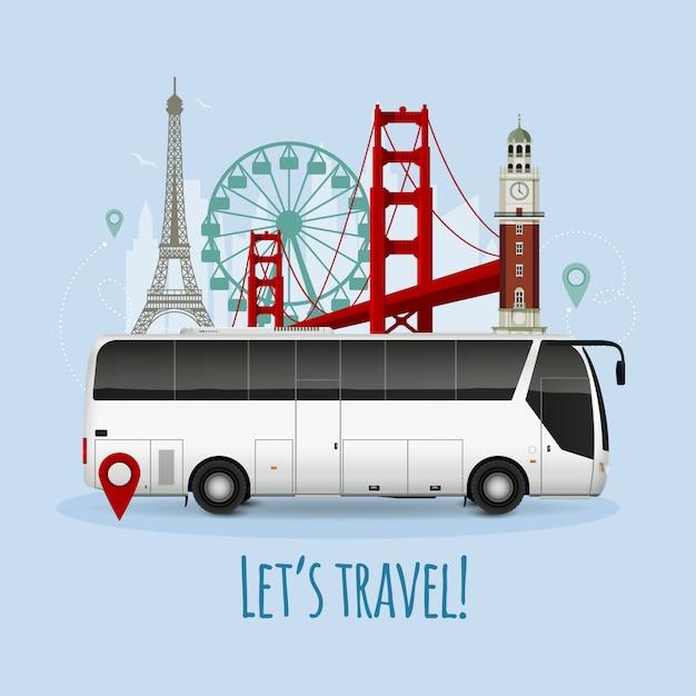 Ilustración de autobús turístico realista vector gratuito