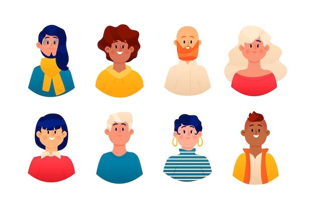 Ilustración de avatares de personas vector gratuito