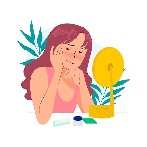 Ilustración de baja autoestima con mujer y espejo. vector gratuito