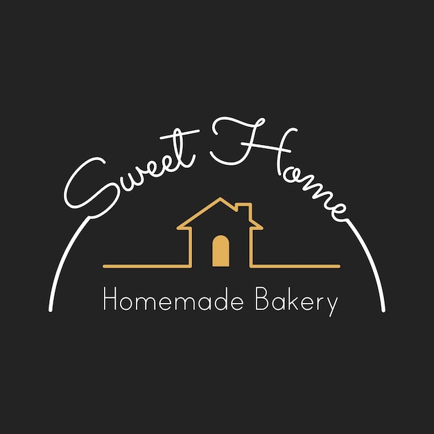 Ilustración de la bandera del sello de la casa de panadería vector gratuito