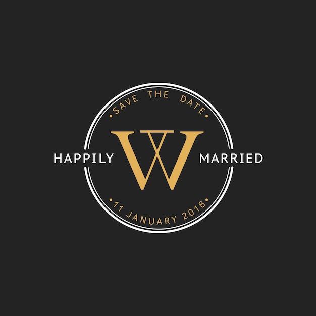 Ilustración de la bandera del sello de invitación de boda vector gratuito