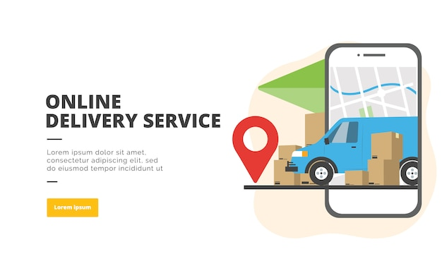 Ilustración de banner de diseño plano de servicio de entrega en línea Vector Premium