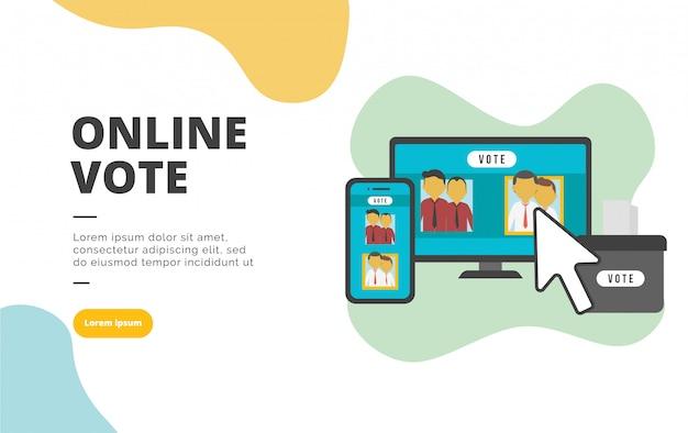Ilustración de banner de diseño plano de voto en línea Vector Premium