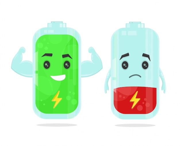 Ilustración de batería baja y batería a plena potencia Vector Premium