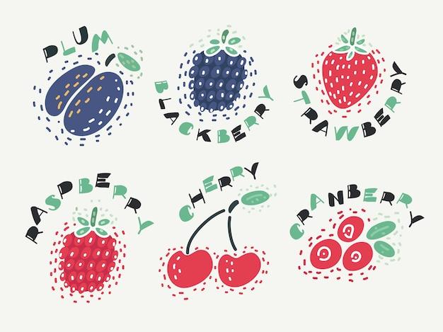 Ilustración de baya con cereza, frambuesa, fresa, ciruela, mora, frambuesa, arándano en un bakcground aislado con el nombre de las letras. Vector Premium