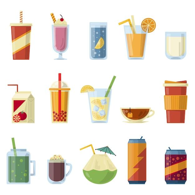 Ilustración con bebidas no alcohólicas. Vector Premium