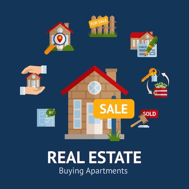 Ilustración de bienes raíces vector gratuito