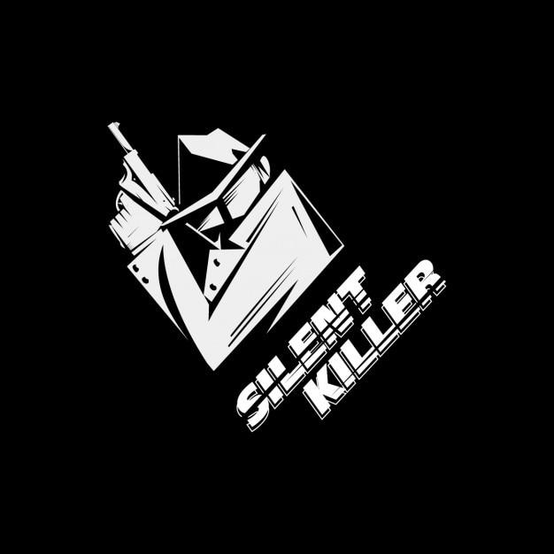 Ilustración en blanco y negro de asesino vector gratuito