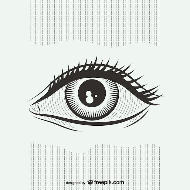 Ilustración blanco y negro de ojos vector gratuito