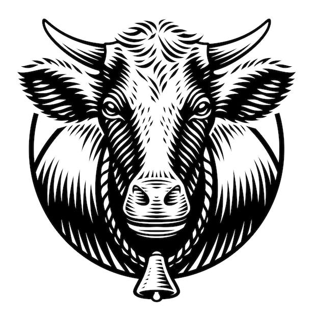 Una ilustración en blanco y negro de vaca en estilo de grabado sobre fondo blanco. Vector Premium