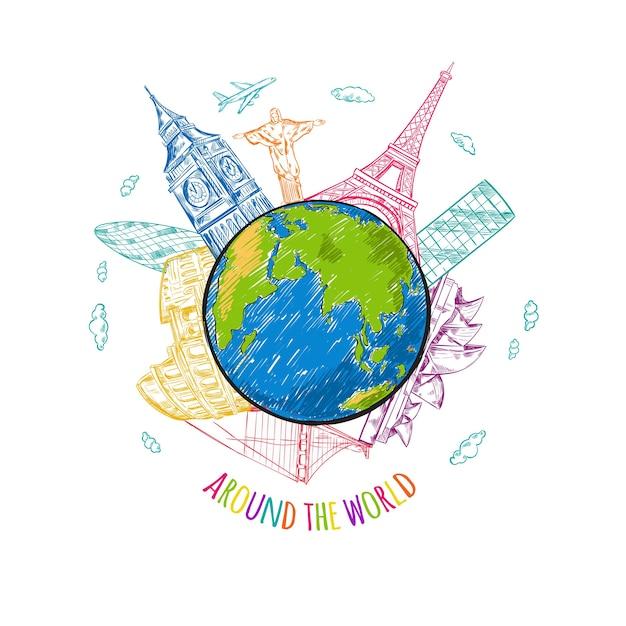 Ilustración de boceto de viajes mundiales vector gratuito
