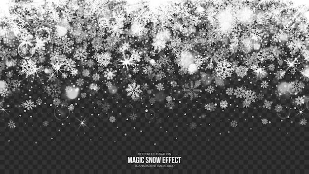 Ilustración de borde de nieve transparente Vector Premium