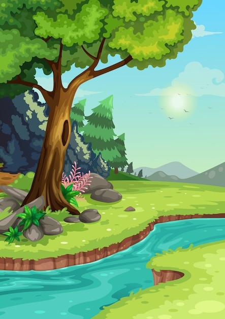 Ilustración de bosque con un fondo de río Vector Premium