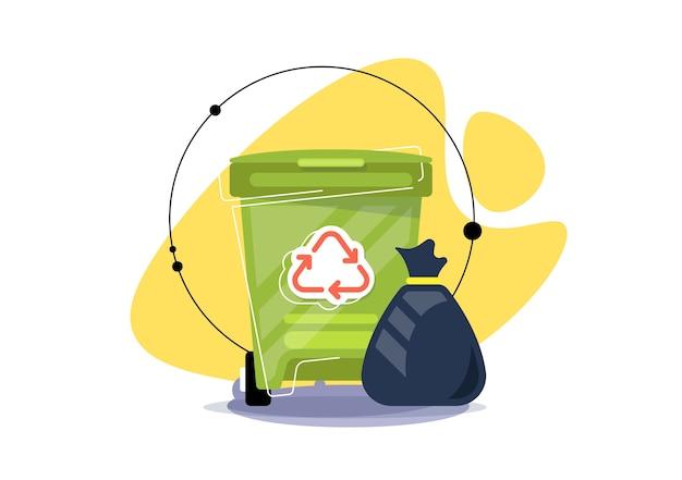 Ilustración de bote de basura. reciclaje, recogida separada de basura y desperdicios. ilustración creativa. Vector Premium