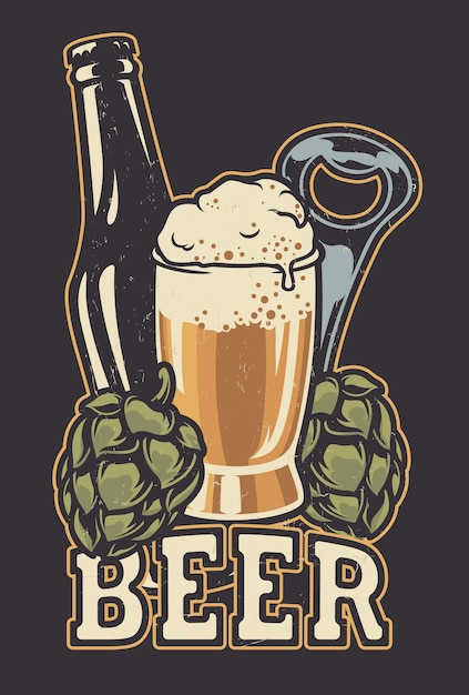 Ilustración con una botella de cerveza y conos de lúpulo. todos los elementos están en grupos separados. Vector Premium