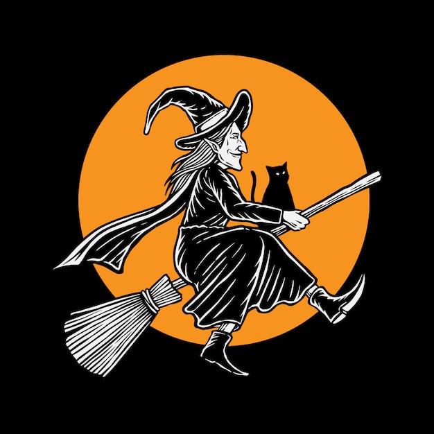 Ilustración de bruja voladora hallowen Vector Premium