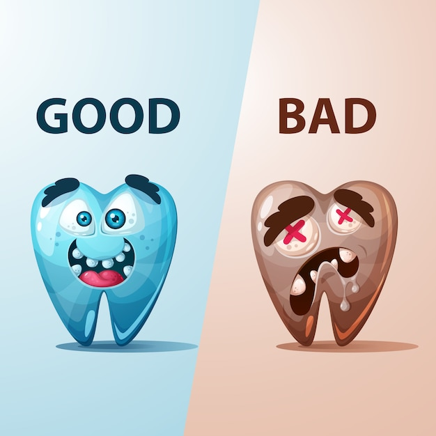 Ilustración buena y mala del diente. Vector Premium