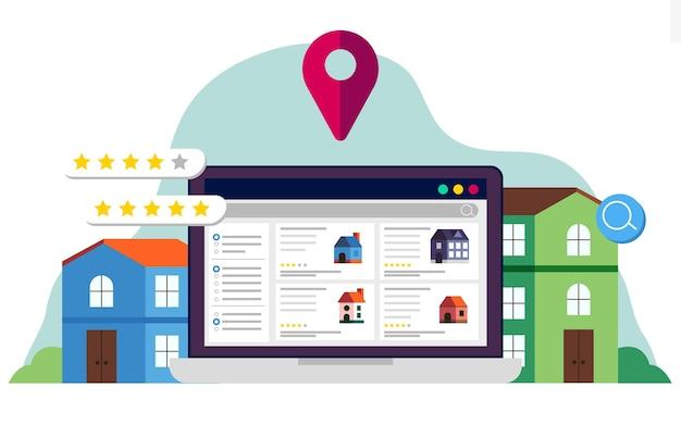 Ilustración de búsqueda de bienes raíces con sitio web Vector Premium