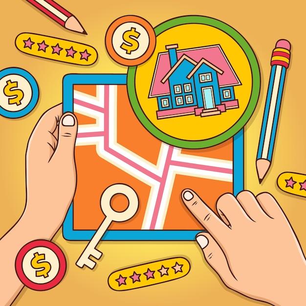 Ilustración de búsqueda de bienes raíces vector gratuito