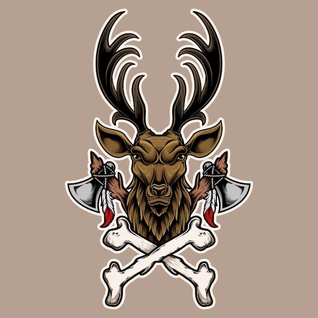 Ilustración cabeza de ciervo con hueso y hacha. diseño Vector Premium