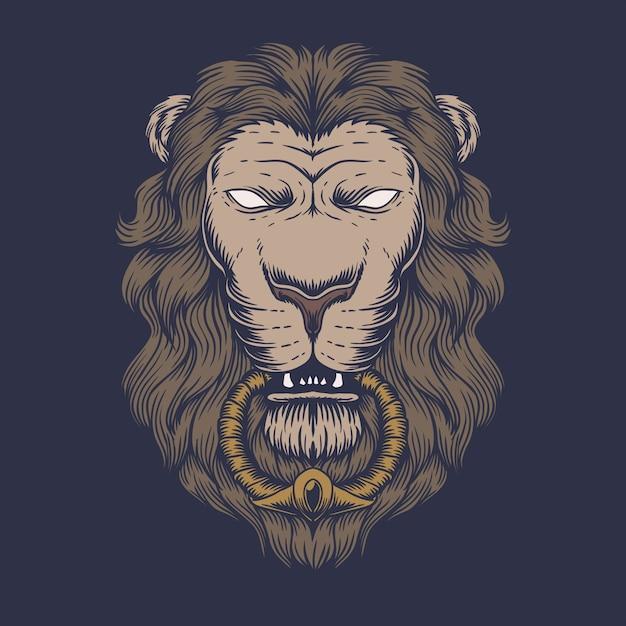 Ilustración de cabeza de león Vector Premium