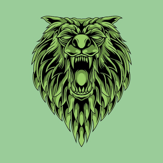 Ilustración de cabeza de lobo asesino verde Vector Premium