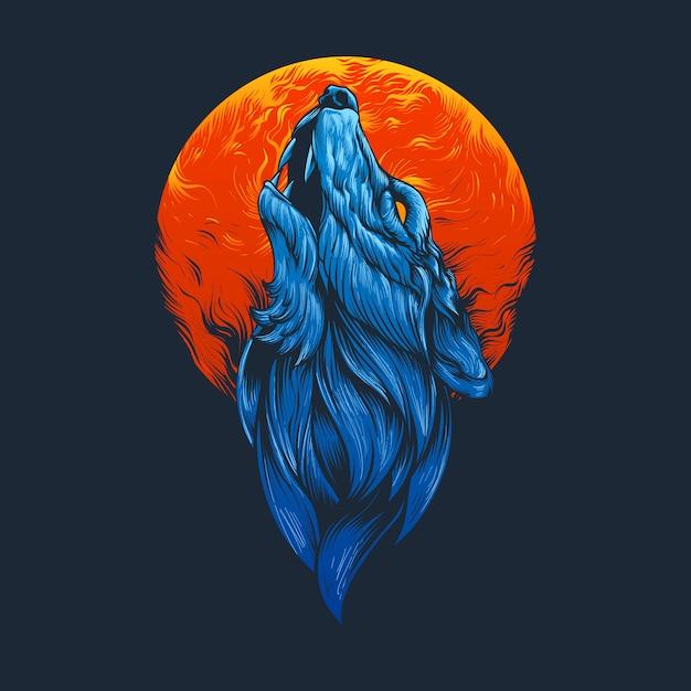 Ilustración de cabeza de lobo azul Vector Premium