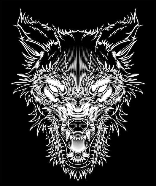Ilustración cabeza lobo feroz, silueta de contorno sobre un fondo negro Vector Premium