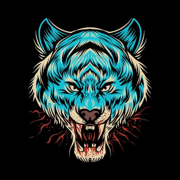 Ilustración de cabeza de tigre azul oscuro Vector Premium