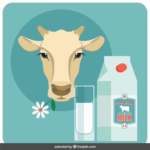 Ilustración de cabeza de vaca y leche en diseño plano vector gratuito