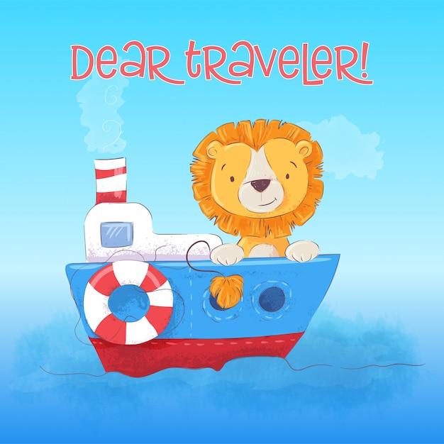 La ilustración del cachorro de león lindo flota en el barco. estilo de dibujos animados vector Vector Premium