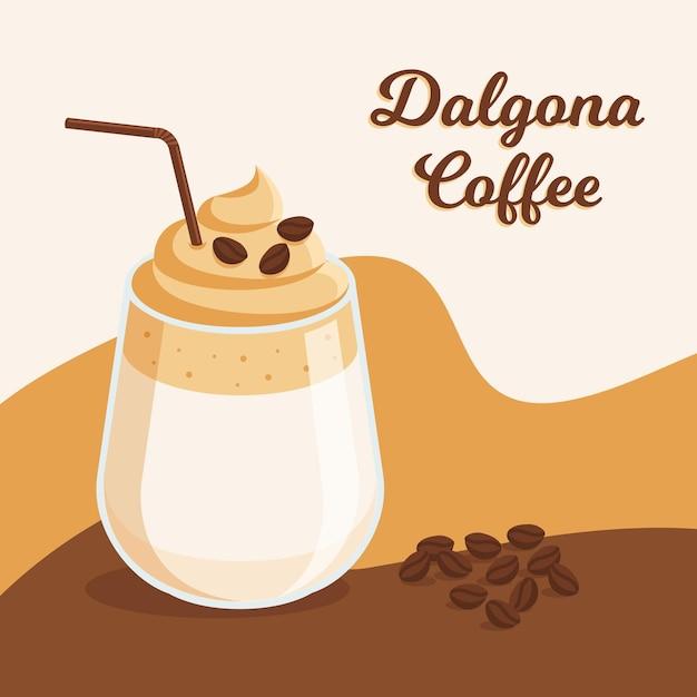 Ilustración de café dalgona vector gratuito