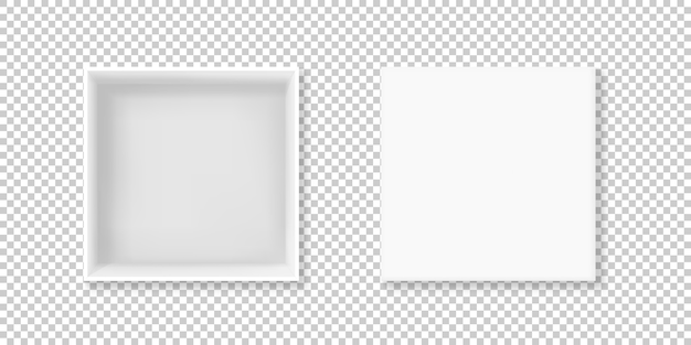 Ilustración de caja blanca de cartulina 3d realista o paquete de papel cuadrado de cartón vacío vector gratuito