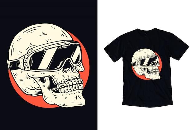 Ilustración de calavera con gafas para camiseta Vector Premium