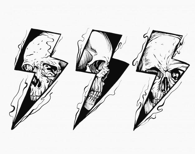 Ilustración de calavera relámpago en blanco y negro Vector Premium