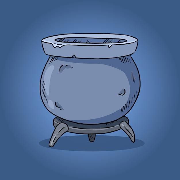 Ilustración de caldero mágico Vector Premium
