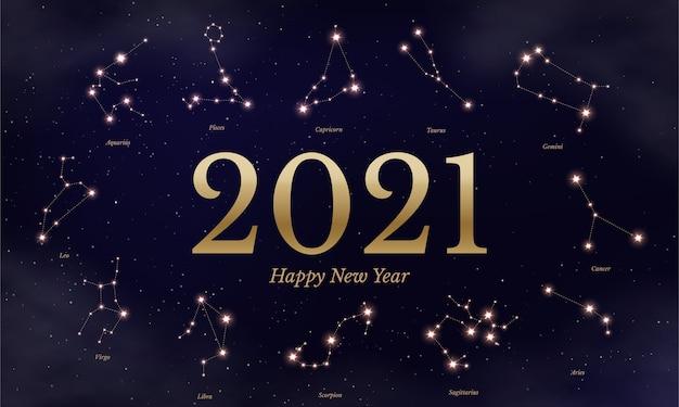 Ilustración de calendario del zodíaco de año nuevo, símbolos astrológicos sobre fondo estrellado azul oscuro, doce signos del horóscopo. Vector Premium