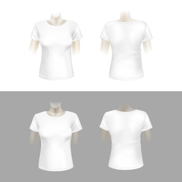 Ilustración de camiseta de mujer blanca Vector Premium