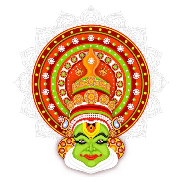 Ilustración de la cara de bailarina kathakali sobre fondo de patrón de mandala. Vector Premium