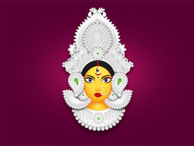 Ilustración de la cara de la diosa durga maa Vector Premium
