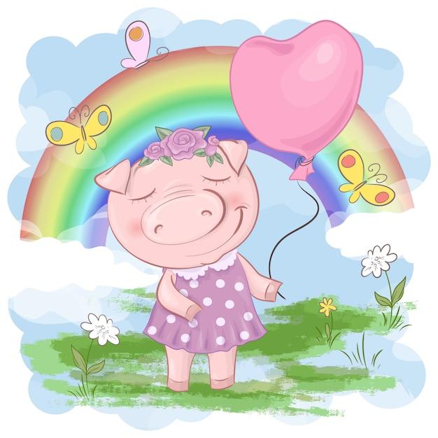 Ilustración de una caricatura de cerdo lindo con arco iris Vector Premium