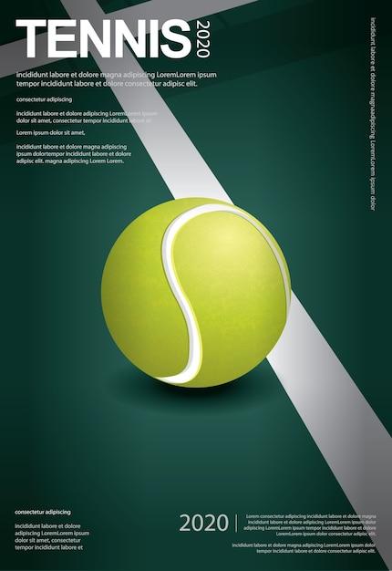 Ilustración del cartel del campeonato de tenis vector gratuito