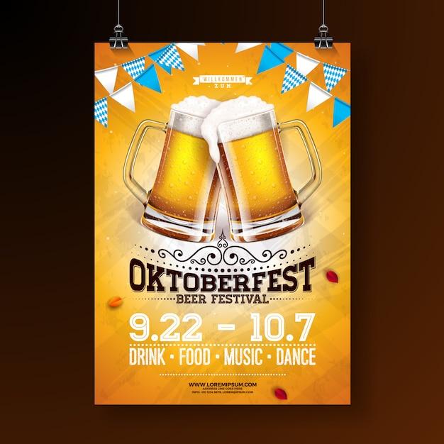 Ilustración del cartel de la fiesta de oktoberfest Vector Premium