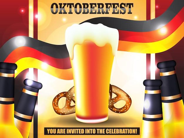 Ilustración de cartel de vector oktoberfest Vector Premium