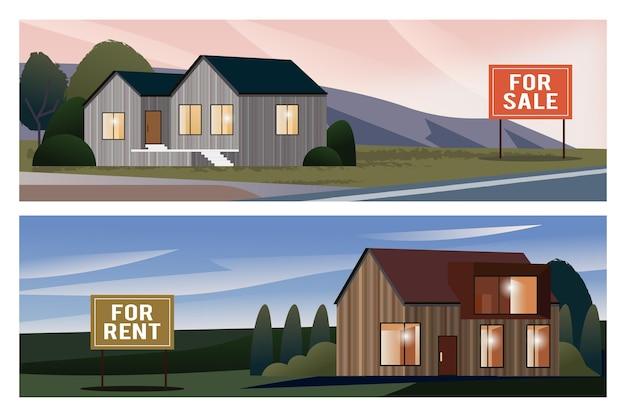 Ilustración de casa en venta vector gratuito