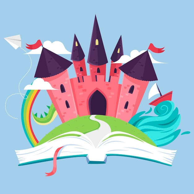 Ilustración del castillo de cuento de hadas dentro del libro vector gratuito