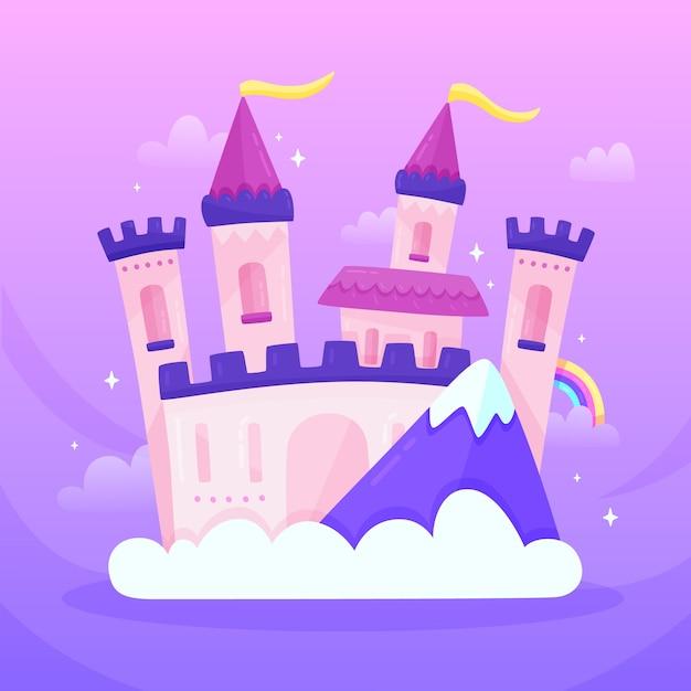 Ilustración con castillo de cuento de hadas vector gratuito
