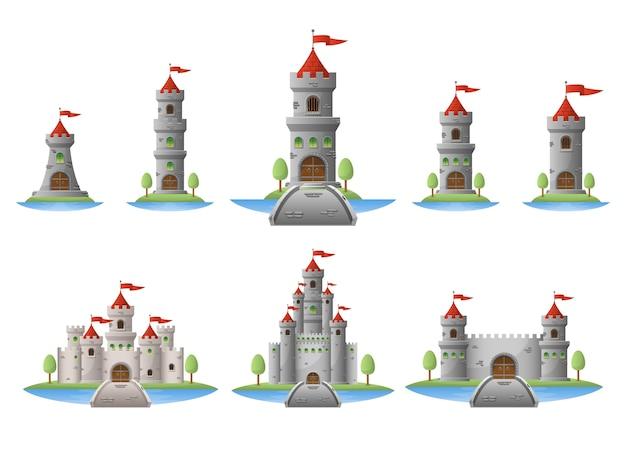 Ilustración de castillo medieval aislado sobre fondo blanco Vector Premium