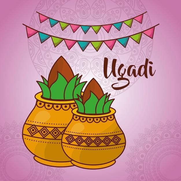 Ilustración de la celebración india de ugadi vector gratuito