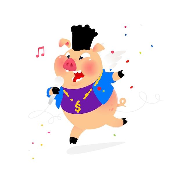 Ilustración de un cerdo con un micrófono. Vector Premium